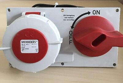 MENNEKES PANEL MOUNTED INTERLOCKED Type 7534 IP67 32A-6h 380-514V 3P+E