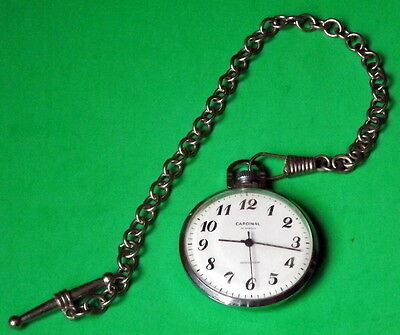 Vintage Cardinal 19 jewels shock proof Manual wind pocket watch and chain (Ship)