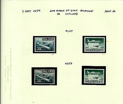 Island Iceland 1959 aviation set LMM & Used pages as seen (A736)