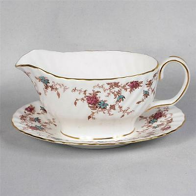 """Minton """"ancestral"""" Gravy Boat With Attached Underplate"""