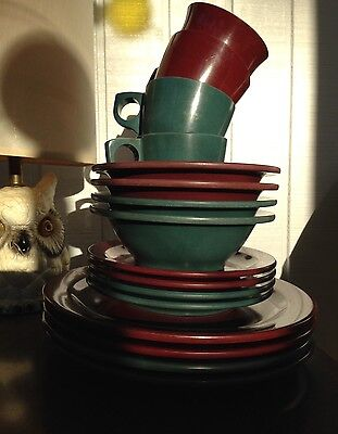 Vintage Boonton Ware Melmac Plates, Bowls, And Cups 12pc Set - Burgundy And Teal
