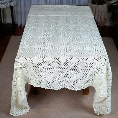 "Cream Crocheted Bed Cover (#43) - Approx. 88"" X 80"""