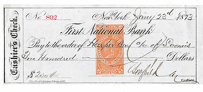 1873 First National Bank, New York  Cashiers Check   Revenue Stamp