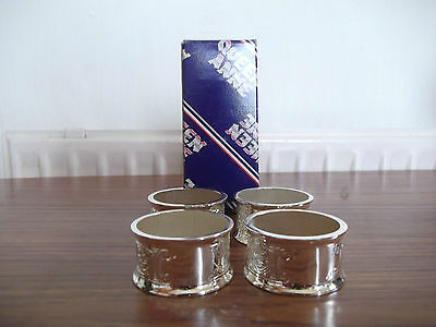 """Vintage Silver Plated Set of 4 Boxed Napkin Rings """"Queen Anne"""" Made in England"""