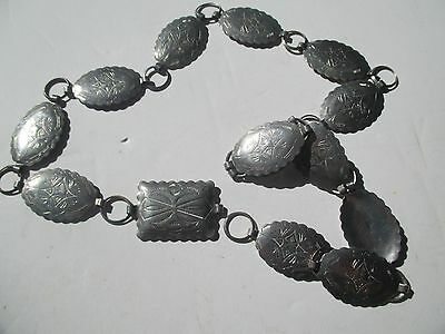 """Linked sm.Oval & Rectangle 32"""" Concho with etched design silver tone chain belt"""