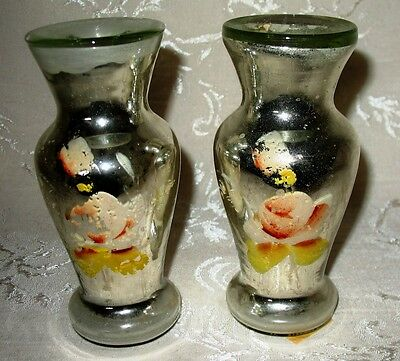 """Antique Matching Pair of Mercury Glass Vases Mid 1800's 5.25"""" in Height"""