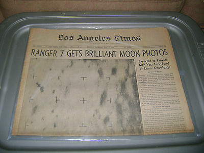 August 1,1964 Los Angles Times newspaper Ranger 7 Moon Photos