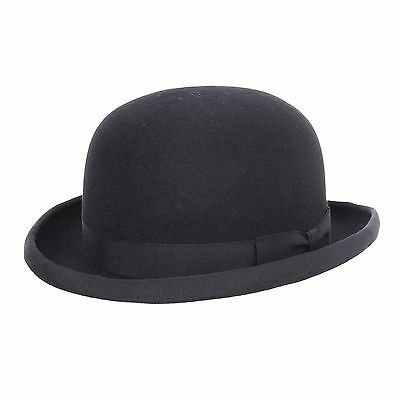 Childs 100% Wool Felt Bowler Hat with Elasticated Inner Band