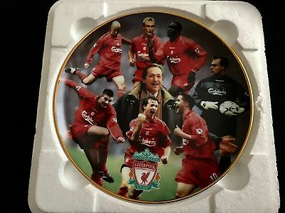 Liverpool FC Treble Winners 2001, Danbury Mint Collectors Plate And Coins