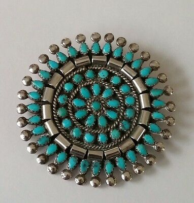 Native American Zuni Sterling Turquoise Petit Point Pin