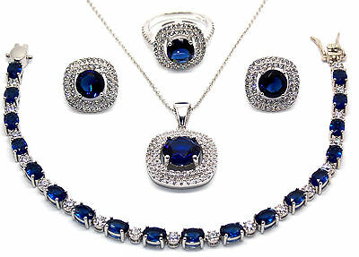 Sterling Silver Blue Sapphire And Diamond 21.14ct Necklace Set (925)