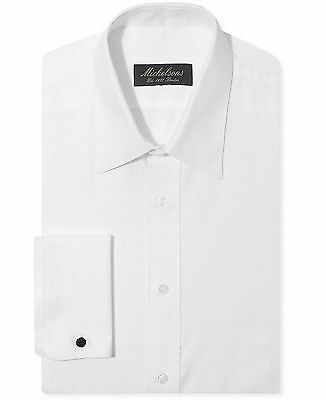 $99 MICHELSONS Men CLASSIC-FIT WHITE FRENCH-CUFF TEXTURED DRESS SHIRT 16.5 34/35