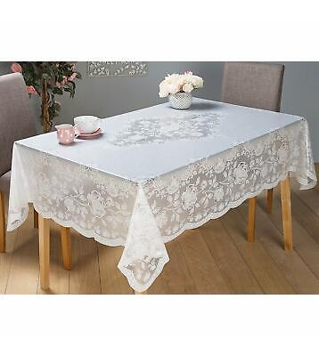White Rectangle Wipe Clean PVC Tablecloth Dining Kitchen Table Cover Protector
