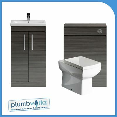 Bathroom Furniture Avola Grey Vanity Unit Cabinet Toilet Basin BTW WC Unit