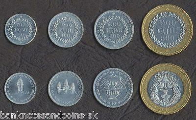 CAMBODIA COMPLETE COIN SET 50+100+200+500 Riels 1994 UNC UNCIRCULATED LOT of 4
