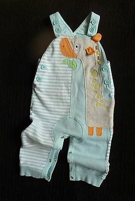 Baby clothes BOY GIRL 12-18mNEXT fun giraffe aqua/grey/orange dungarees/playsuit