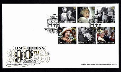 2016 GB Royal Mail Queen's 90th Birthday set First Day Cover Unaddressed