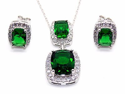 Sterling Silver Emerald And Diamond 11.75ct Emerald Cut Necklace Set (925)