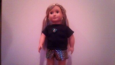 new generation doll clothes  mickey mouse ears t shirt and sequin shorts fit ag