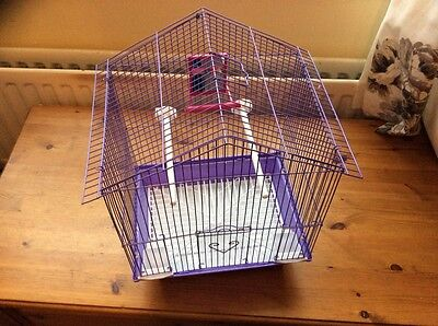 Purple bird cage for canary, finch or budgie