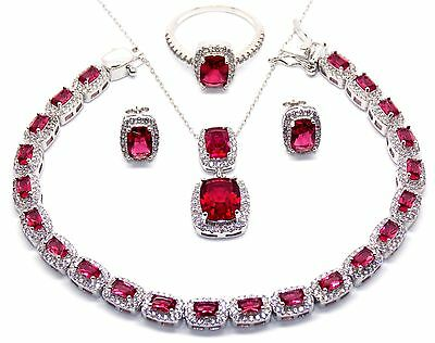 Sterling Silver Ruby And Diamond 28.5ct Emerald Cut Necklace Set (925)