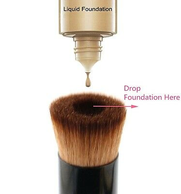 UK Pro Flat Buffer Wooden Liquid Foundation Powder Contour Bronzer Make Up Brush