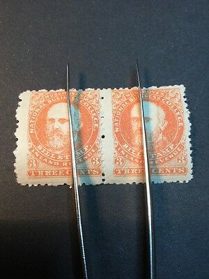 Musgroves Bill Stamp Inland Revenue Fiscal 3c Pair MNH (s957)
