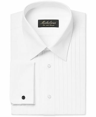 NWT $99 MICHELSONS Men CLASSIC-FIT WHITE FRENCH-CUFF TUXEDO DRESS SHIRT 15 34/35