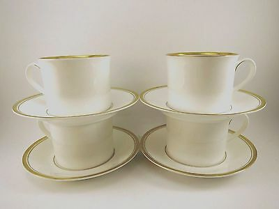 x4 Royal Worcester Coffee Tea Cups & Saucers VICEROY GOLD English Bone China