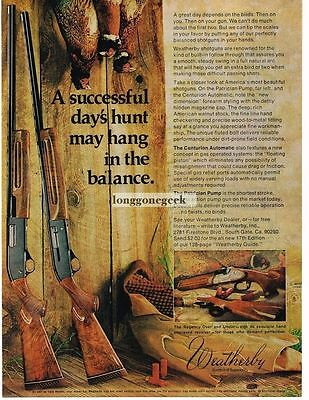1974 Weatherby Centurion Automatic and Patrician Pump Shotgun Vtg Print Ad