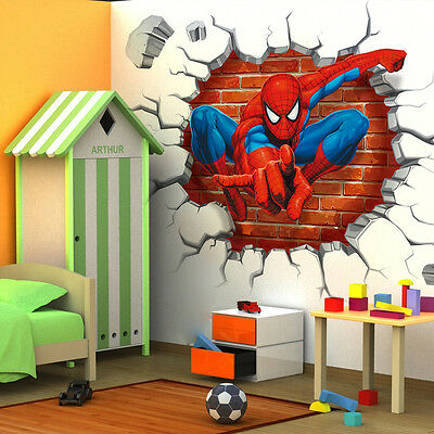 3D Spider man kids room decor Wall sticker wall decals Nursery Mural Free ship