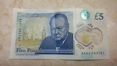 New plastic £5 pound note AA01 284781