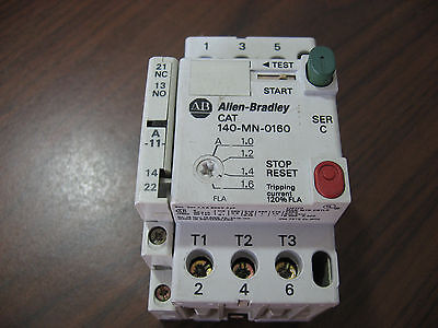 Allen Bradley 140-MN-0160 Manual Starter 1.0 to 1.6 Amp W/ 140-A11 Aux. Contact