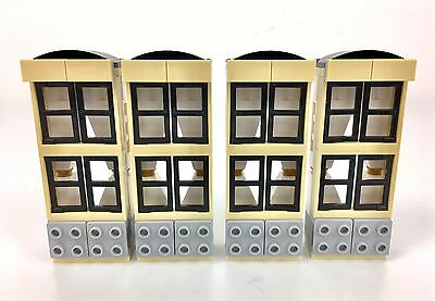 """Lego City 4 X Complete Window Sets C/W """"Curtains""""  Ideal For MOC Builders Home"""