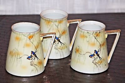 Set of THREE antique hand-painted S&K Nippon mugs with birds