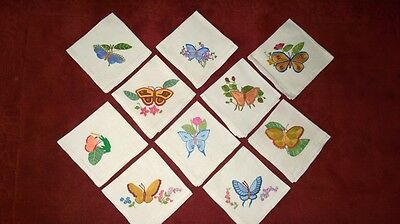 Set of 10 Beautifully Hand Embroidered Pure Linen napkins , prestine , unused
