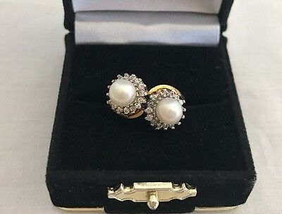 Victorian Lady Double Pearls Cz Clusters Ring Gold Plated Sterling Silver Size 8