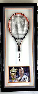 Andy Murray Wimbledon, Olympic & World#1 Signed Tennis Racket & Picture