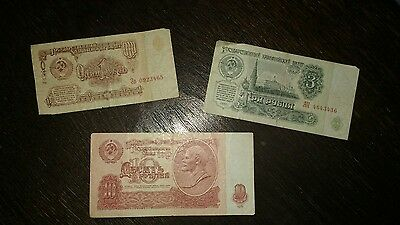 Rare And Collectable Communist Era Russian 1,3 and 10 Ruble Banknotes (1961)