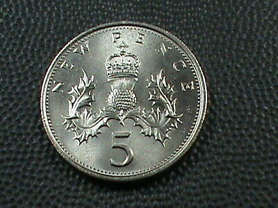 GREAT  BRITAIN    5  Pence   1977    BRILLIANT  UNCIRCULATED