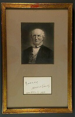 Horace Greeley Autograph & Date with Steel Engraving Portrait Framed