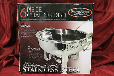 Excel 4 Qt. Gourmet Buffet Chafing Dish w Lid, Stainless Steel, New, #N1