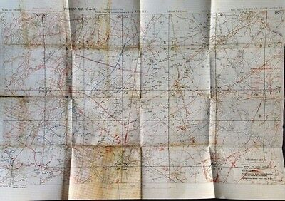 German artillery positions ERVILLERS New WW1 Trench Map. Aug 15 1918