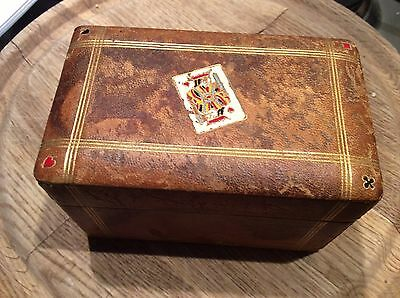Antique Leather Bound Boxed Playing Cards Bridge Poker Etc