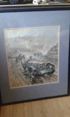 Print of F.W.Dixon and the 1936 Riley