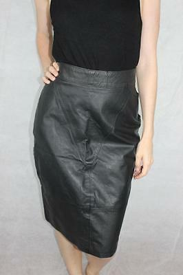 Vintage 80s BLACK Blondie New Wave ELECTRO HIGH WASITED LEATHER SKIRT 14 / L Rad