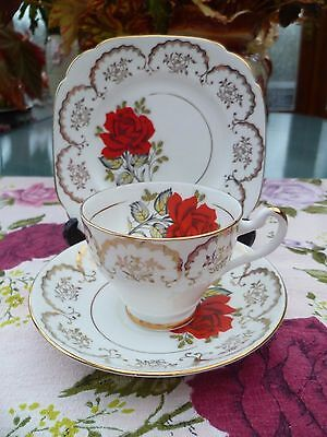 Pretty Vintage Imperial China Trio Tea Cup Saucer Plate Red Rose Gilding