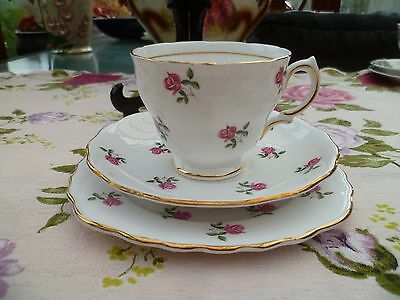 Vintage Colclough China Trio Tea Cup Saucer Plate Little Pink Roses 7433