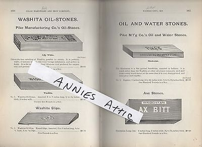 1898 ad  vintage OIL & WATER tool knife axe sharpening stones Pikes Washita