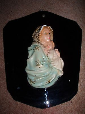 Vintage Holy Mary & Jesus - Ceramic on Glass Wall Plaque 35 cm